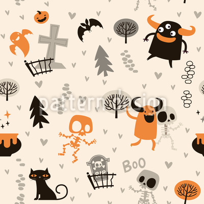Skeletons and Monsters Seamless Vector Pattern Design