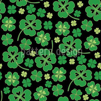 Kleeblätter auf Schwarz Nahtloses Vektor Muster