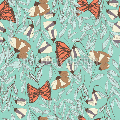 Butterfly Flower Meadow Vector Ornament
