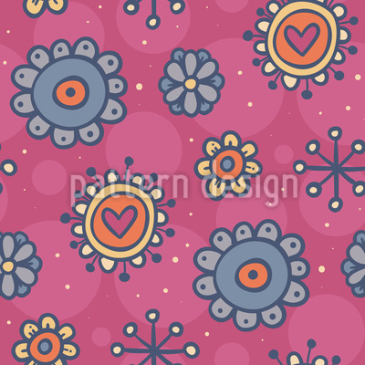 Lovely Flower Hearts Seamless Pattern