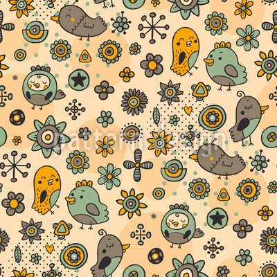 Verliebte Singvögel Muster Design
