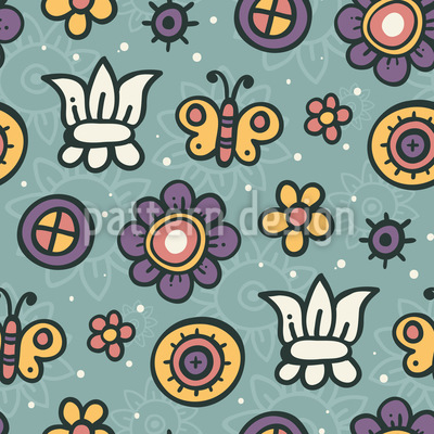 Butterfly Garden Dream Seamless Vector Pattern