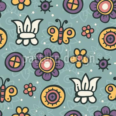 Schmetterling Garten Traum Nahtloses Vektor Muster