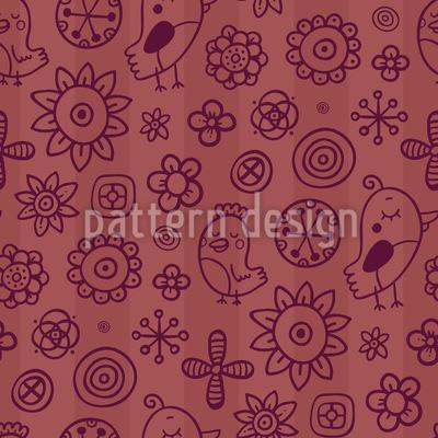 Birds Between Flowers Design Pattern