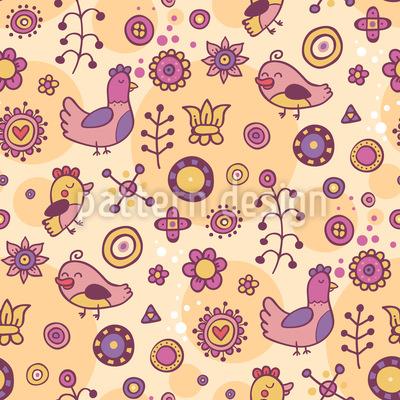 Ein Vogel Paradies Nahtloses Muster