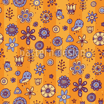 Friendly Birds And Flowers Repeating Pattern