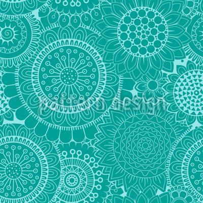 Mosaik Flower Power Nahtloses Vektormuster
