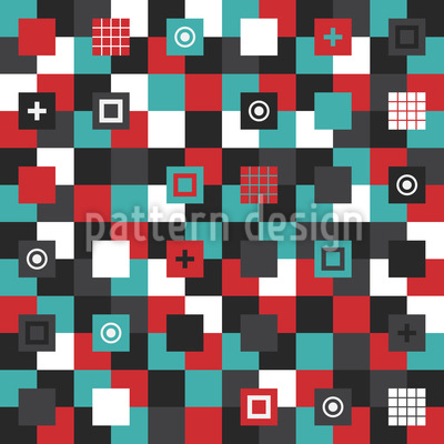 Patchwork Square Shapes Repeat Pattern