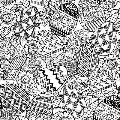 Easter Eggs In Mandala Style Repeat