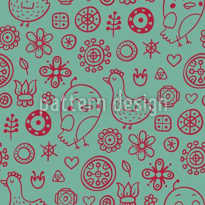 Vögel Und Blumen Mit Anderen Kleinen Zeichnungen Vektor Muster