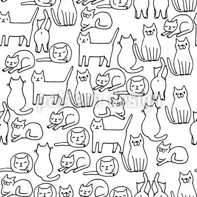 Gemütliche Katzen Rapportiertes Design