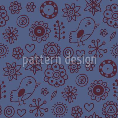 Vogel Und Blumen Zeichnungen Vektor Ornament