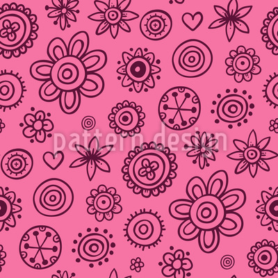 Girlish Painted Flowers Pattern Design