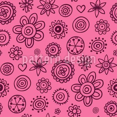 Mädchenhafte gemalte Blumen Muster Design