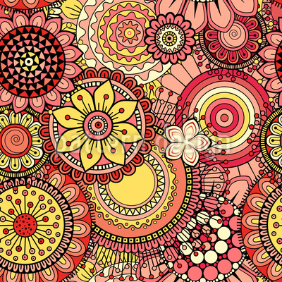 Bright Abstract Flowers Seamless Vector Pattern Design