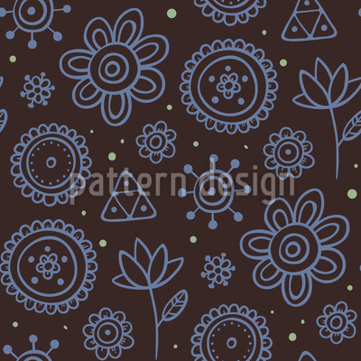 Night Flowers Vector Pattern