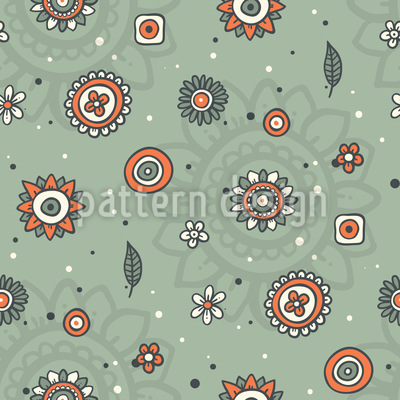 Cute Flowers And Leaves Vector Pattern