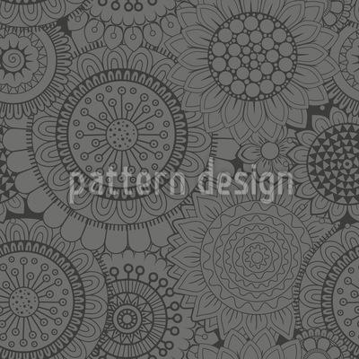 Sunflowers At Night Seamless Vector Pattern Design