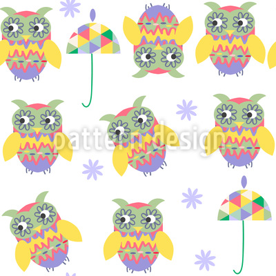 Owls And Umbrellas Seamless Vector Pattern