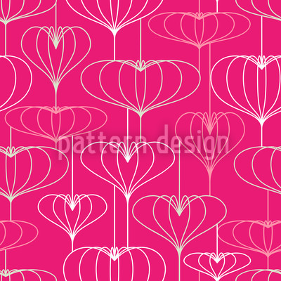 Heart Lantern Pink Vector Pattern