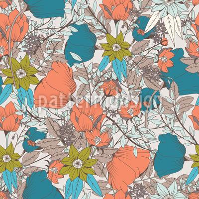 Vintage Blumenwiese Nahtloses Vektormuster