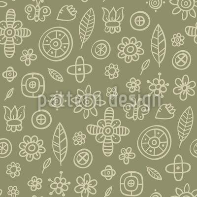 Blumen Im Garten Nahtloses Muster