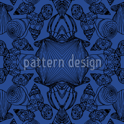 Shell In The Mirror Seamless Pattern