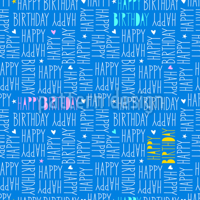 Lettering Happy Birthday  Seamless Vector Pattern