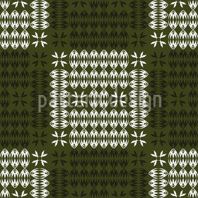 Karierte Hörner Und Blätter  Nahtloses Muster