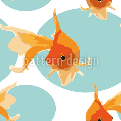 Friendly Goldfish Seamless Vector Pattern Design