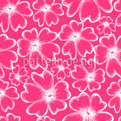 Romantic Flower Silhouettes Repeat Pattern