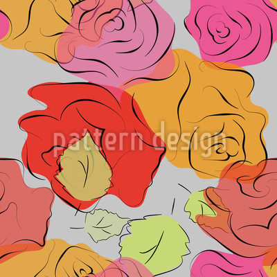 Hand-Drawn Roses Pattern Design