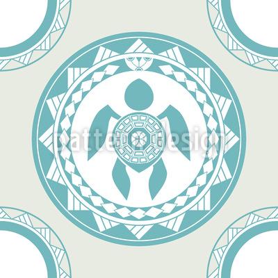 Maori Schildkröte Nahtloses Vektor Muster