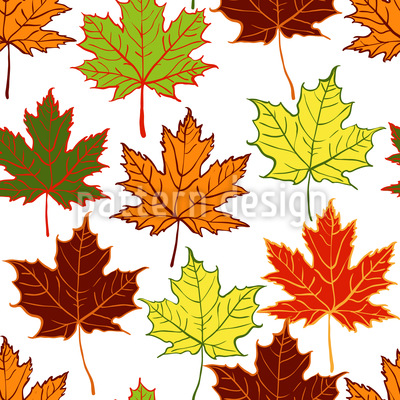 Arranged Maple Leaves Seamless Pattern