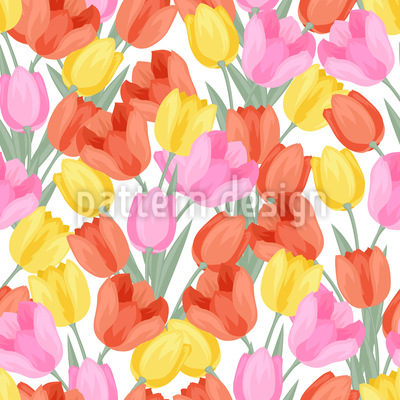 Leuchtende Tulpen Nahtloses Vektor Muster