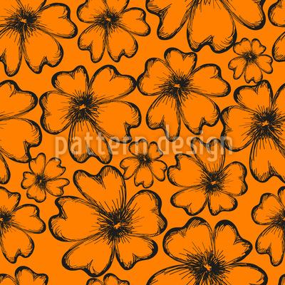 Sonnige Blumensilhouetten Nahtloses Vektor Muster