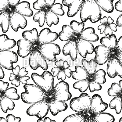 Monochrome Flower Silhouettes Vector Ornament