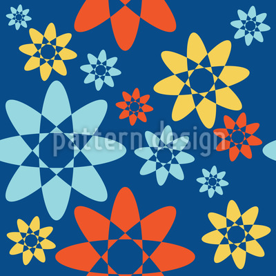 Endlose Abstrakte Blüten Nahtloses Vektor Muster