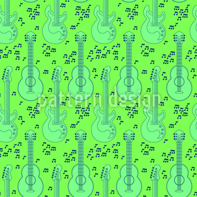 Acoustic Guitar And Music Notes Pattern Design