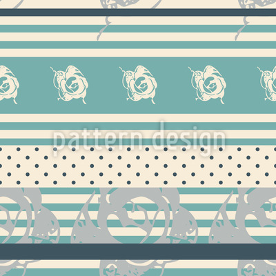 Lace of Roses on Stripes And Dots Vector Design