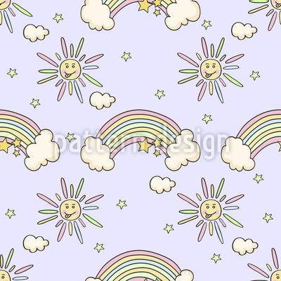 Regenbogenwölkchen Nahtloses Muster