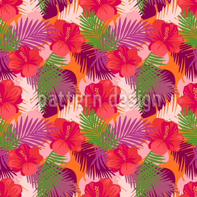 Hibiscus Tropical Motif Vectoriel Sans Couture