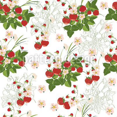Strawberries Everywhere Vector Ornament