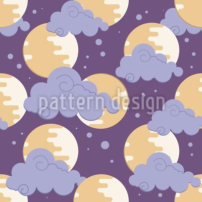 Mond In den Wolken Musterdesign