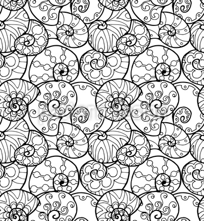 Conchas rabiscadas Design de padrão vetorial sem costura