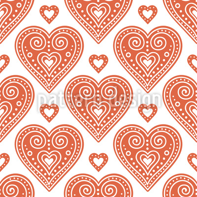 Seasonal Love Hearts Seamless Vector Pattern Design