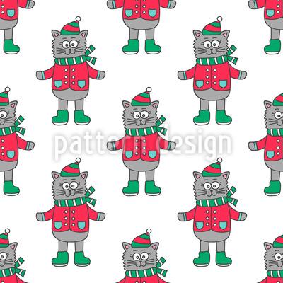 Gato encantador Design de padrão vetorial sem costura