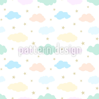 Clouds and Stars Seamless Vector Pattern Design