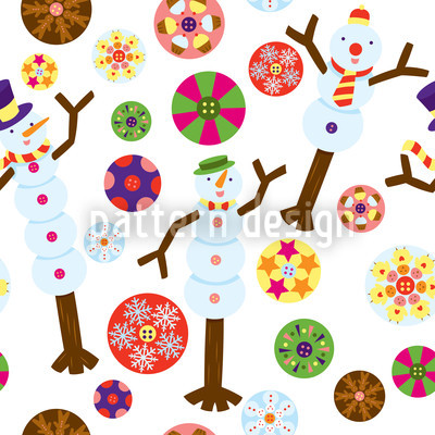 Snowman Seamless Vector Pattern Design