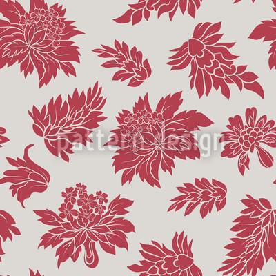 Barock Blüte Rot Nahtloses Vektormuster